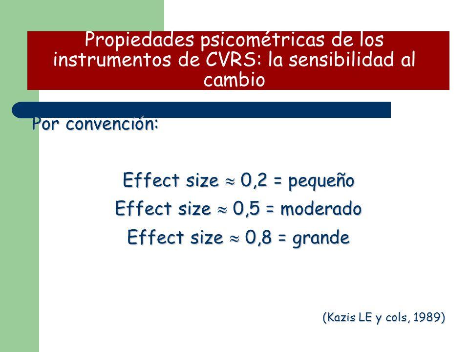 Por convención: Effect size 0,2 = pequeño Effect size 0,5 = moderado Effect size 0,8 = grande (Kazis LE y cols, 1989) Propiedades psicométricas de los instrumentos de CVRS: la sensibilidad al cambio