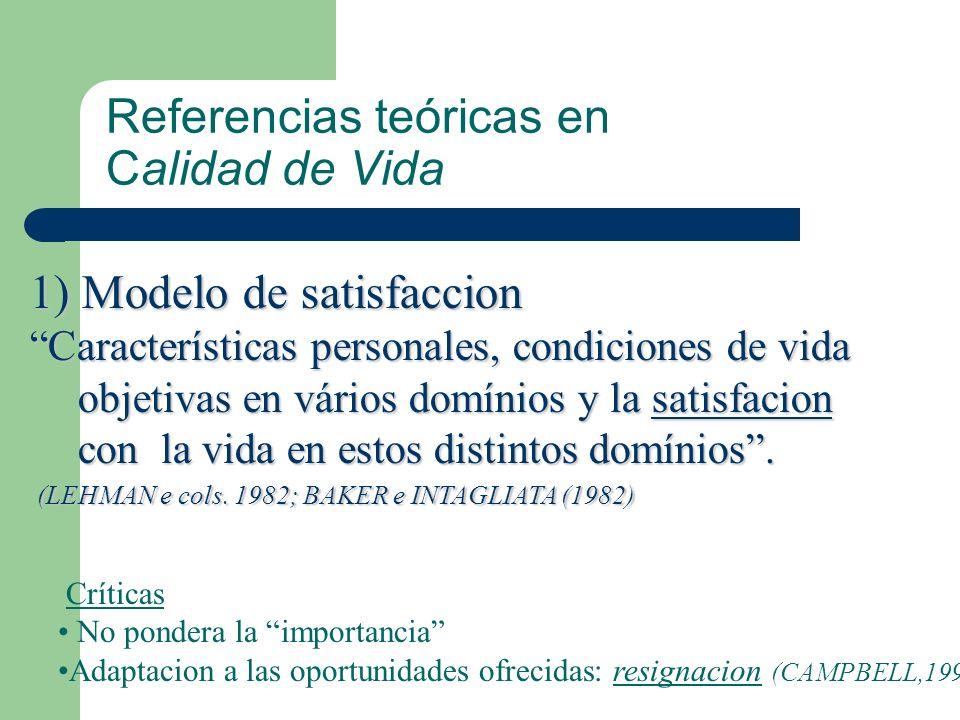Referencias teóricas en Calidad de Vida 1) Modelo de satisfaccion Características personales, condiciones de vida objetivas en vários domínios y la sa