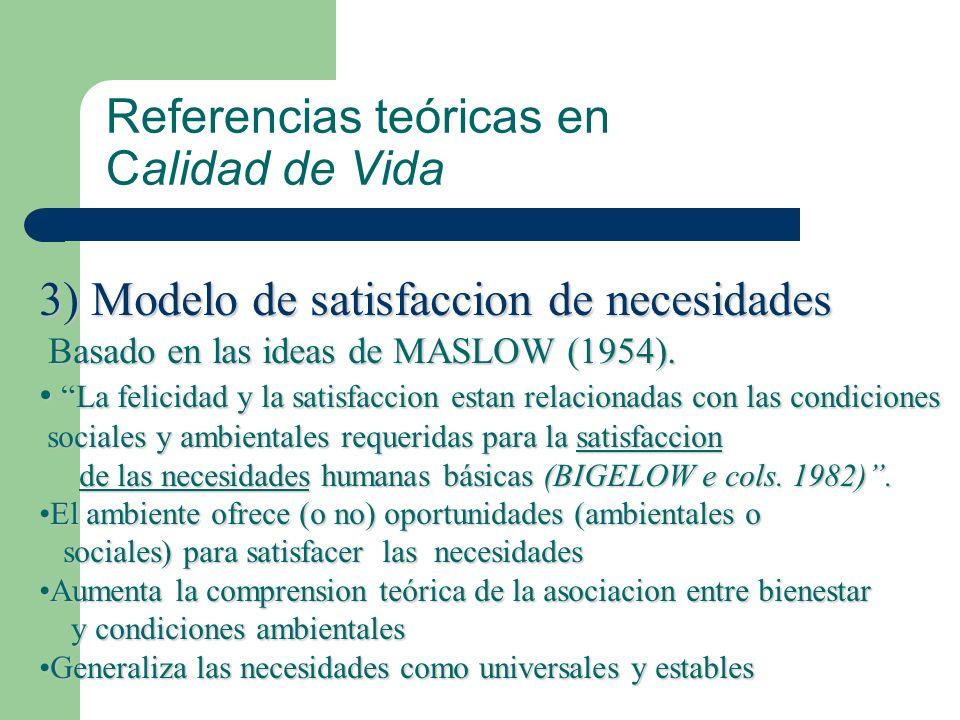 Referencias teóricas en Calidad de Vida 3) Modelo de satisfaccion de necesidades Basado en las ideas de MASLOW (1954). La felicidad y la satisfaccion