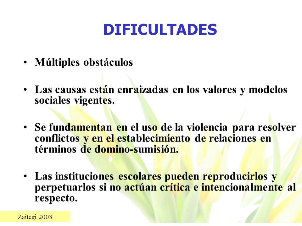 Zaitegi 2008 DIFICULTADES Múltiples obstáculos Las causas están enraizadas en los valores y modelos sociales vigentes. Se fundamentan en el uso de la
