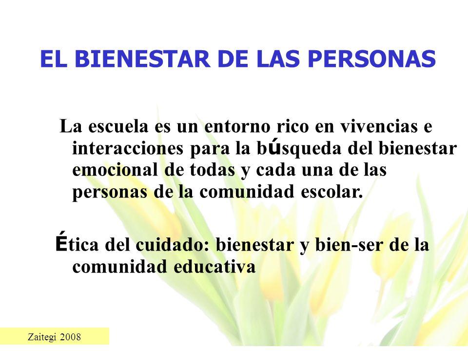 Zaitegi 2008 EL BIENESTAR DE LAS PERSONAS La escuela es un entorno rico en vivencias e interacciones para la b ú squeda del bienestar emocional de tod