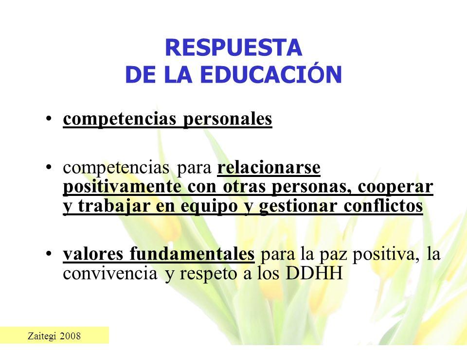 Zaitegi 2008 RESPUESTA DE LA EDUCACI Ó N competencias personales competencias para relacionarse positivamente con otras personas, cooperar y trabajar
