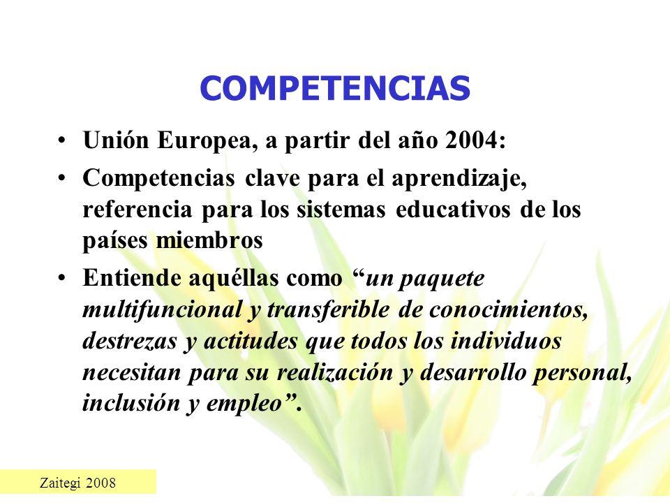 Zaitegi 2008 COMPETENCIAS Unión Europea, a partir del año 2004: Competencias clave para el aprendizaje, referencia para los sistemas educativos de los