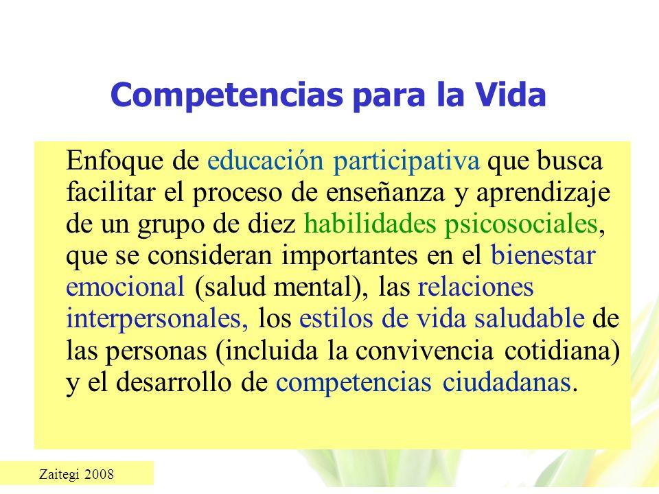 Zaitegi 2008 Competencias para la Vida Enfoque de educación participativa que busca facilitar el proceso de enseñanza y aprendizaje de un grupo de die
