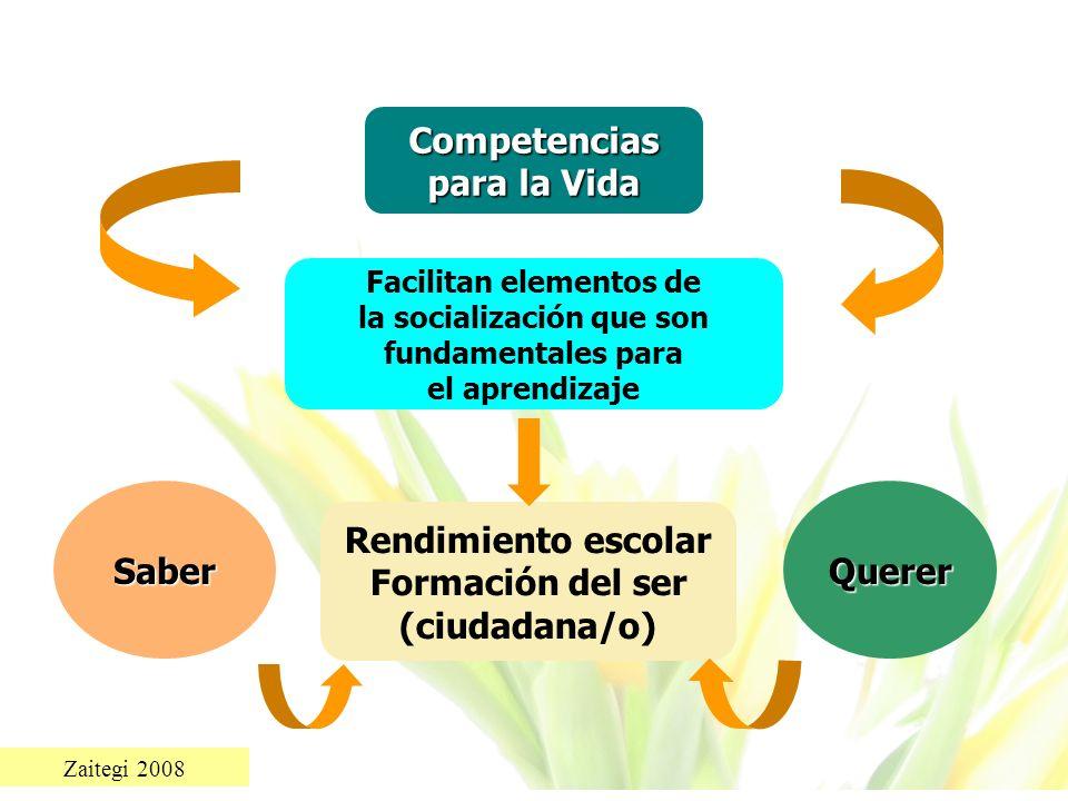 Zaitegi 2008 Competencias para la Vida Facilitan elementos de la socialización que son fundamentales para el aprendizaje Rendimiento escolar Formación