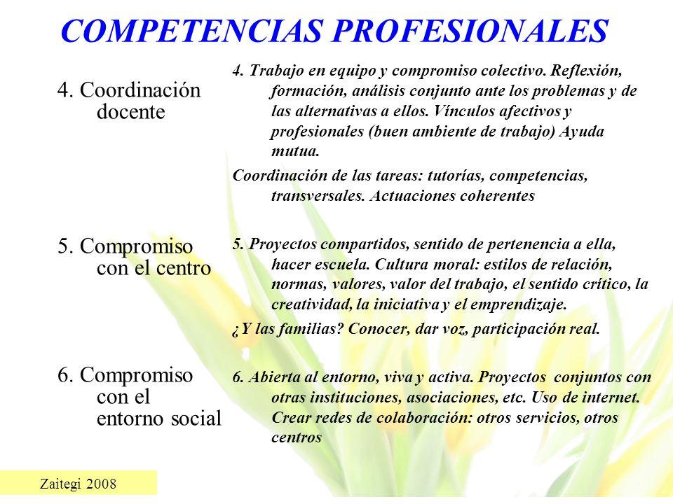 Zaitegi 2008 COMPETENCIAS PROFESIONALES 4. Coordinación docente 5. Compromiso con el centro 6. Compromiso con el entorno social 4. Trabajo en equipo y