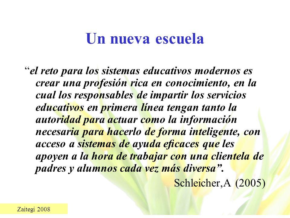 Zaitegi 2008 Un nueva escuela el reto para los sistemas educativos modernos es crear una profesión rica en conocimiento, en la cual los responsables d