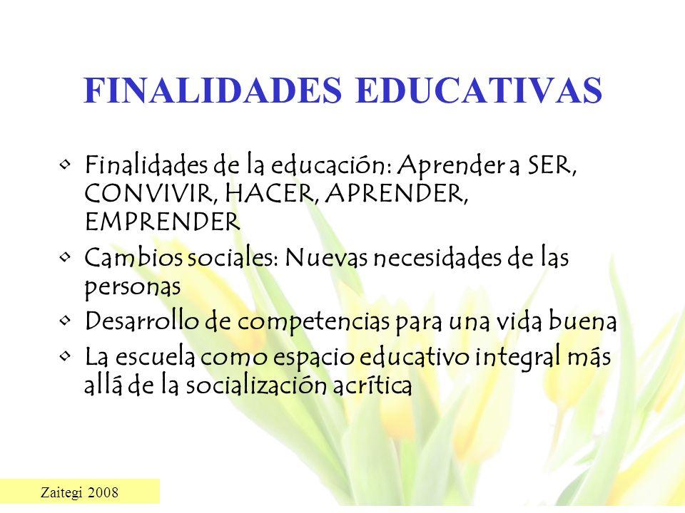 Zaitegi 2008 FINALIDADES EDUCATIVAS Finalidades de la educación: Aprender a SER, CONVIVIR, HACER, APRENDER, EMPRENDER Cambios sociales: Nuevas necesid