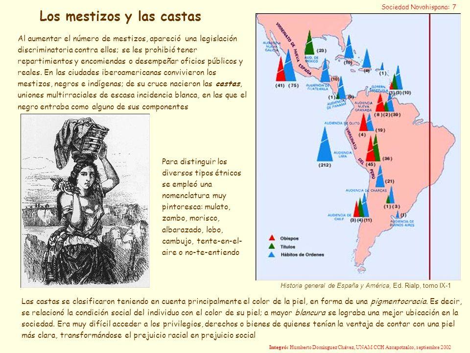 Historia general de España y América, Ed. Rialp, tomo IX-1 Las castas se clasificaron teniendo en cuenta principalmente el color de la piel, en forma
