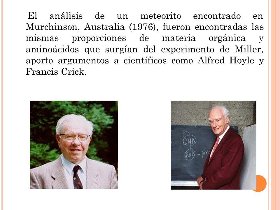 El análisis de un meteorito encontrado en Murchinson, Australia (1976), fueron encontradas las mismas proporciones de materia orgánica y aminoácidos que surgían del experimento de Miller, aporto argumentos a científicos como Alfred Hoyle y Francis Crick.