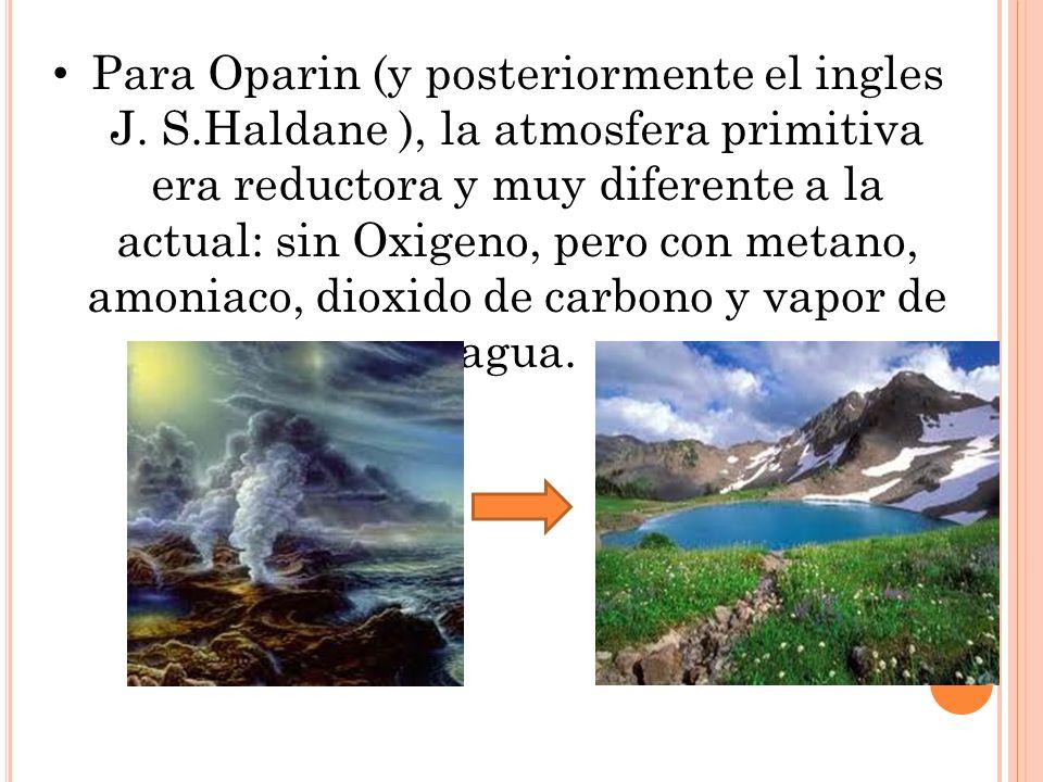 Para Oparin (y posteriormente el ingles J. S.Haldane ), la atmosfera primitiva era reductora y muy diferente a la actual: sin Oxigeno, pero con metano