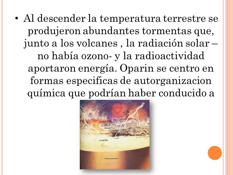 Al descender la temperatura terrestre se produjeron abundantes tormentas que, junto a los volcanes, la radiación solar – no había ozono- y la radioactividad aportaron energía.