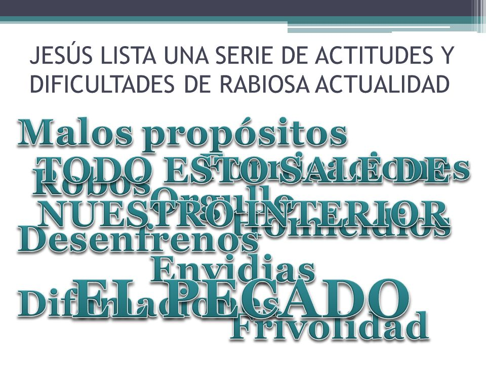 JESÚS LISTA UNA SERIE DE ACTITUDES Y DIFICULTADES DE RABIOSA ACTUALIDAD