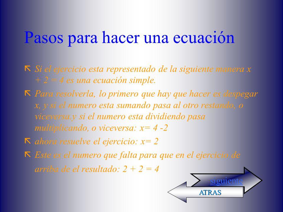 Pasos para hacer una ecuación ãSi el ejercicio esta representado de la siguiente manera x + 2 = 4 es una ecuación simple.
