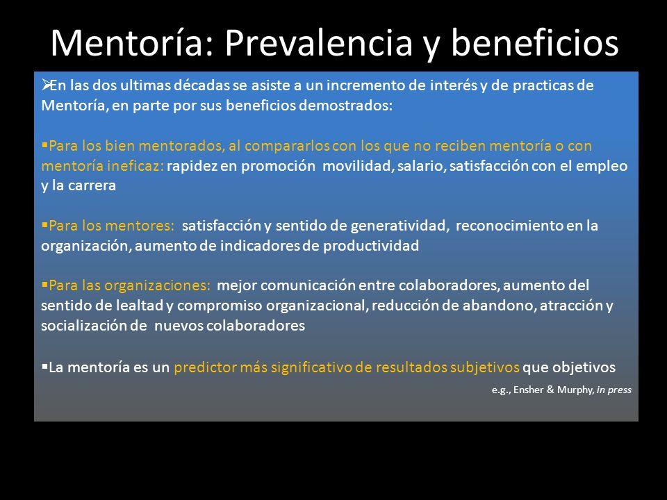 Mentoría: Prevalencia y beneficios En las dos ultimas décadas se asiste a un incremento de interés y de practicas de Mentoría, en parte por sus benefi