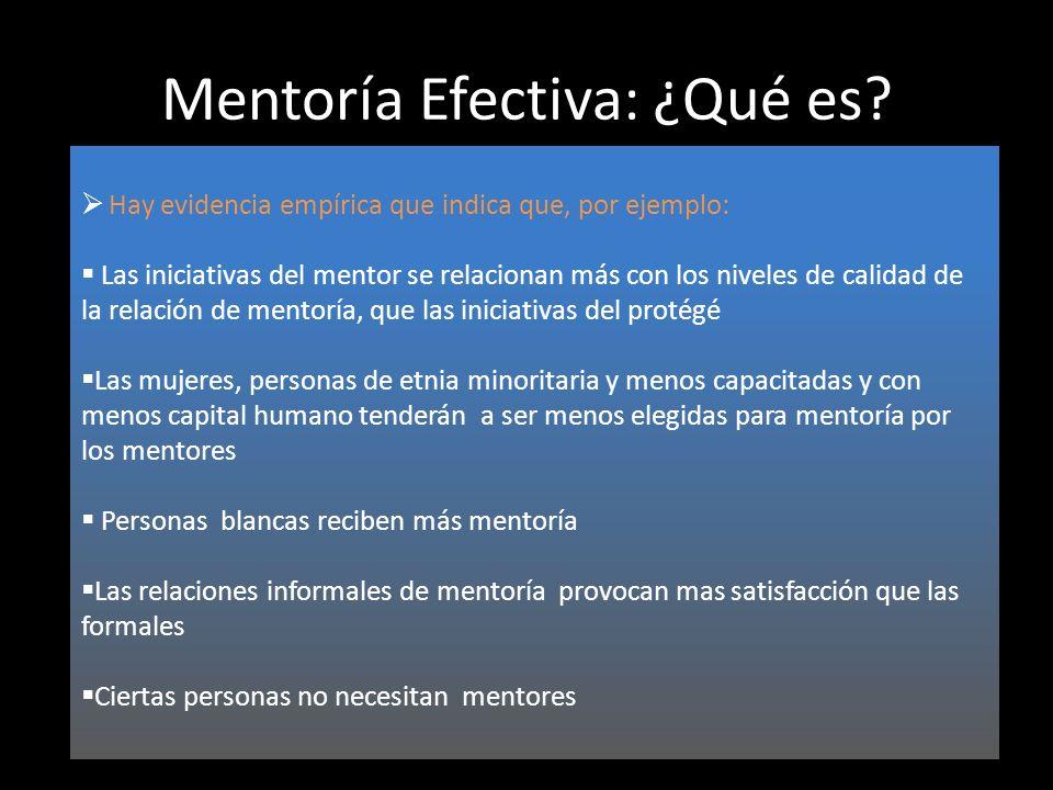Mentoría Efectiva: ¿Qué es? Hay evidencia empírica que indica que, por ejemplo: Las iniciativas del mentor se relacionan más con los niveles de calida