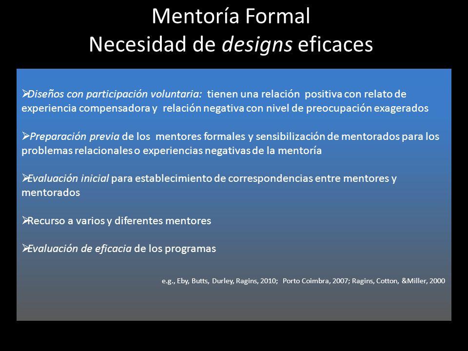 Mentoría Formal Necesidad de designs eficaces Diseños con participación voluntaria: tienen una relación positiva con relato de experiencia compensador