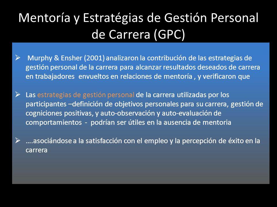 Mentoría y Estratégias de Gestión Personal de Carrera (GPC) Murphy & Ensher (2001) analizaron la contribución de las estrategias de gestión personal d