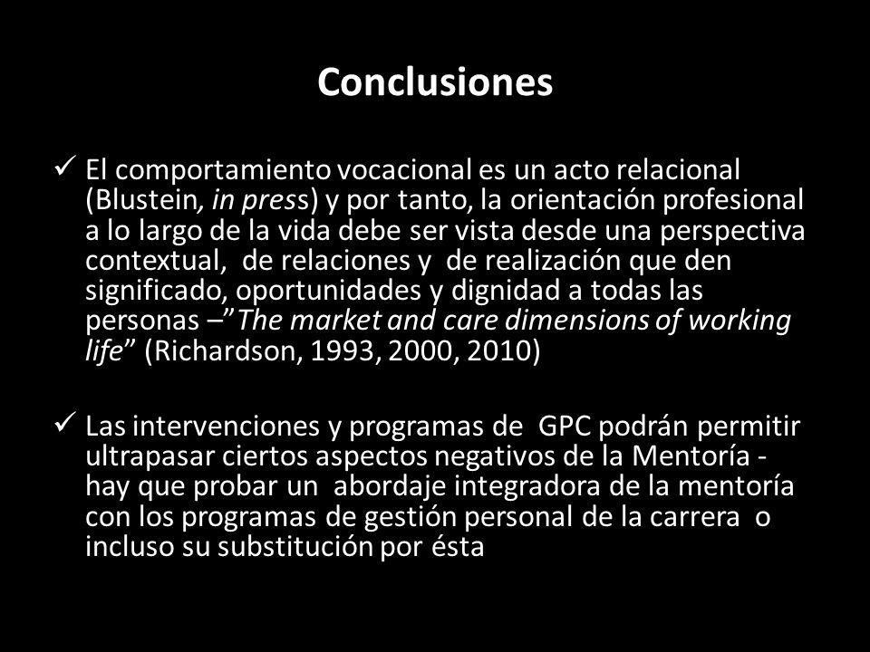 Conclusiones El comportamiento vocacional es un acto relacional (Blustein, in press) y por tanto, la orientación profesional a lo largo de la vida deb