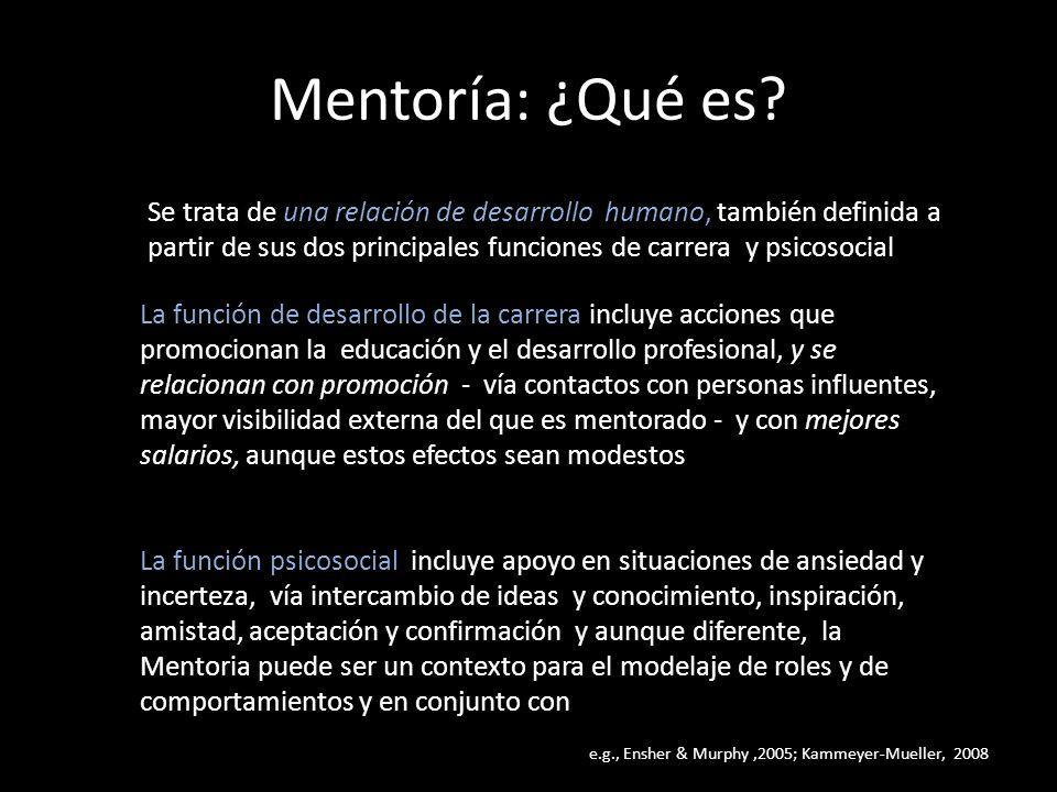 Mentoría: ¿Qué es? Se trata de una relación de desarrollo humano, también definida a partir de sus dos principales funciones de carrera y psicosocial