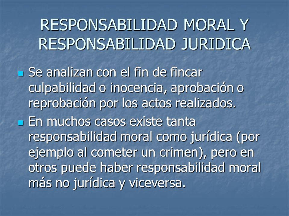 RESPONSABILIDAD MORAL Y RESPONSABILIDAD JURIDICA Se analizan con el fin de fincar culpabilidad o inocencia, aprobación o reprobación por los actos realizados.
