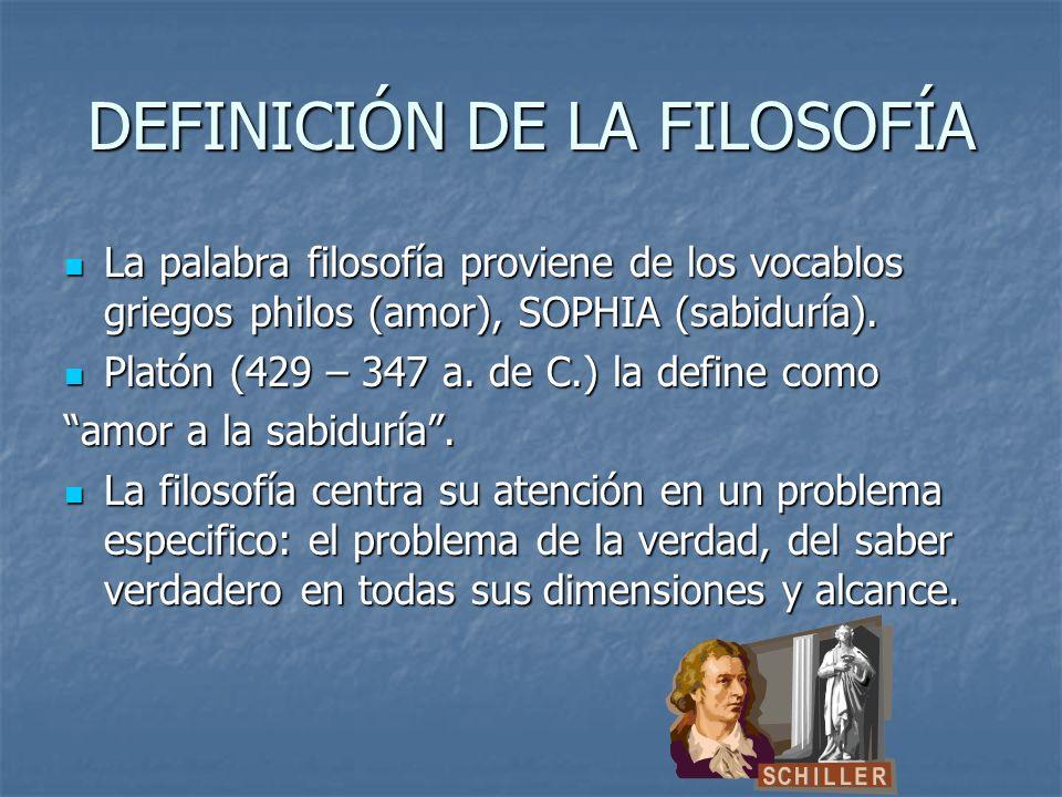 DEFINICIÓN DE LA FILOSOFÍA La palabra filosofía proviene de los vocablos griegos philos (amor), SOPHIA (sabiduría).
