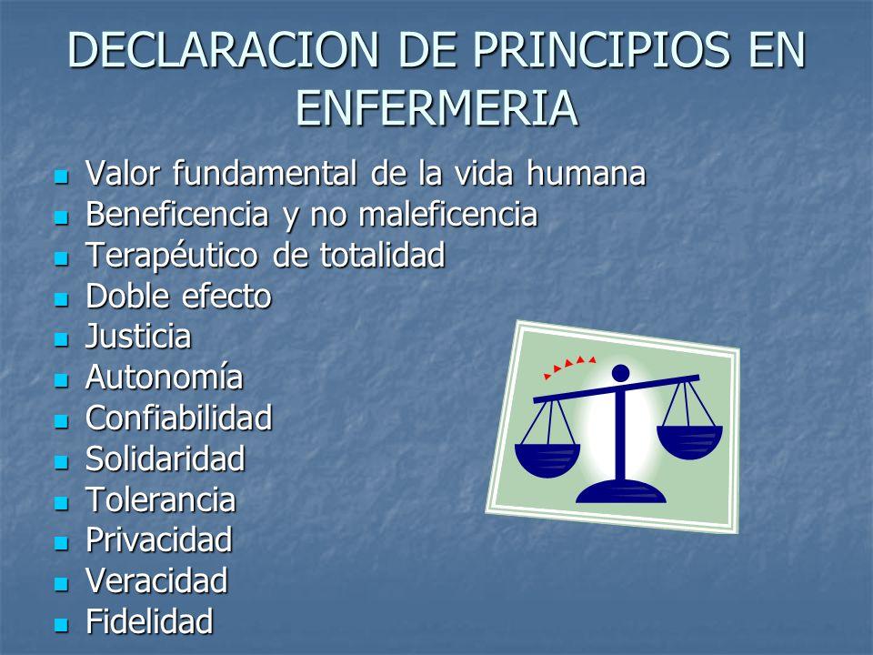 DECLARACION DE PRINCIPIOS EN ENFERMERIA Valor fundamental de la vida humana Valor fundamental de la vida humana Beneficencia y no maleficencia Benefic