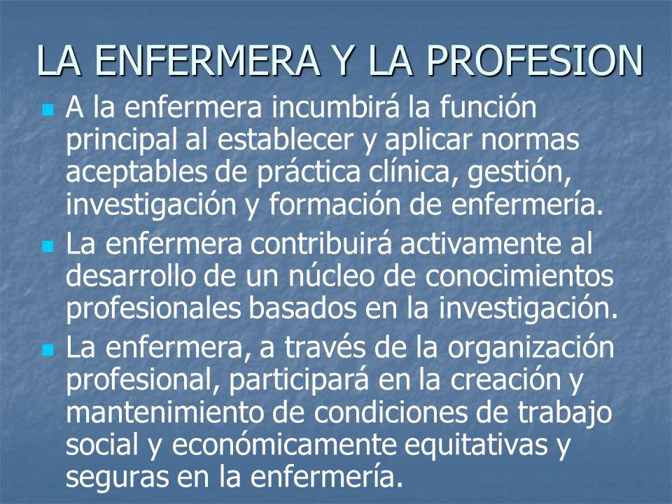 LA ENFERMERA Y LA PROFESION A la enfermera incumbirá la función principal al establecer y aplicar normas aceptables de práctica clínica, gestión, investigación y formación de enfermería.