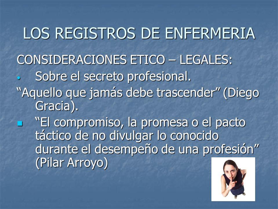 LOS REGISTROS DE ENFERMERIA CONSIDERACIONES ETICO – LEGALES: Sobre el secreto profesional. Sobre el secreto profesional. Aquello que jamás debe trasce