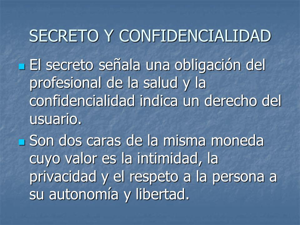 SECRETO Y CONFIDENCIALIDAD El secreto señala una obligación del profesional de la salud y la confidencialidad indica un derecho del usuario. El secret