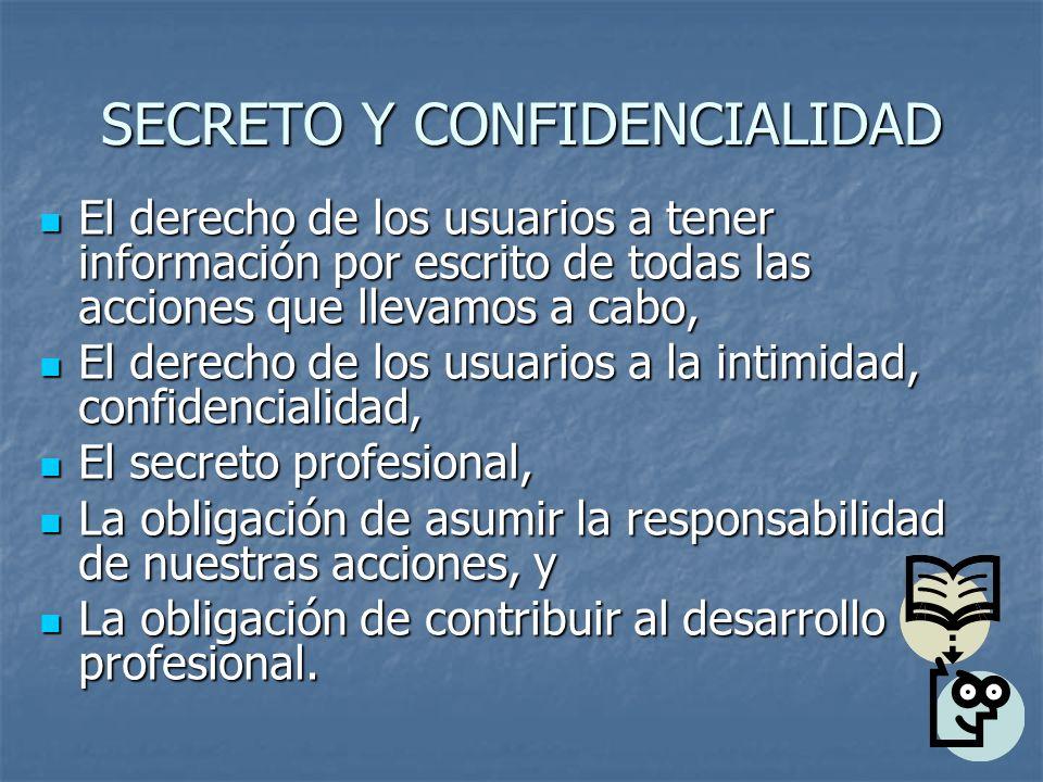 SECRETO Y CONFIDENCIALIDAD El derecho de los usuarios a tener información por escrito de todas las acciones que llevamos a cabo, El derecho de los usuarios a tener información por escrito de todas las acciones que llevamos a cabo, El derecho de los usuarios a la intimidad, confidencialidad, El derecho de los usuarios a la intimidad, confidencialidad, El secreto profesional, El secreto profesional, La obligación de asumir la responsabilidad de nuestras acciones, y La obligación de asumir la responsabilidad de nuestras acciones, y La obligación de contribuir al desarrollo profesional.
