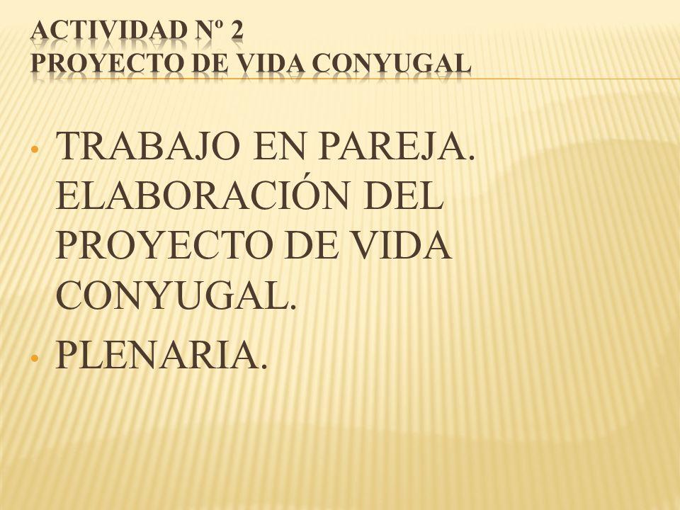 TRABAJO EN PAREJA. ELABORACIÓN DEL PROYECTO DE VIDA CONYUGAL. PLENARIA.
