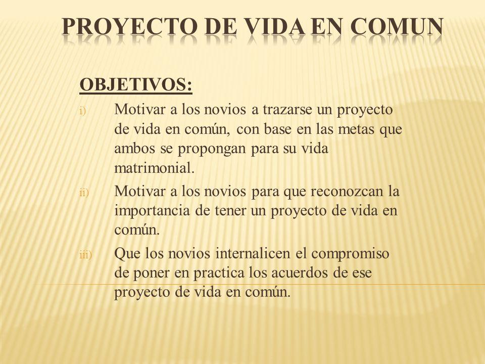 OBJETIVOS: i) Motivar a los novios a trazarse un proyecto de vida en común, con base en las metas que ambos se propongan para su vida matrimonial. ii)