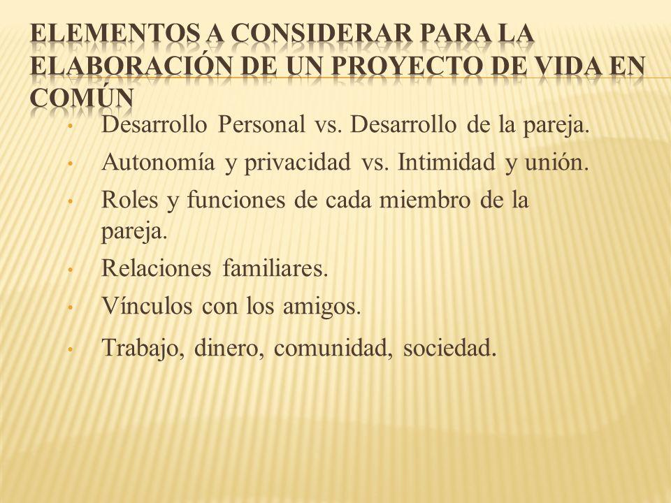 Desarrollo Personal vs. Desarrollo de la pareja. Autonomía y privacidad vs. Intimidad y unión. Roles y funciones de cada miembro de la pareja. Relacio