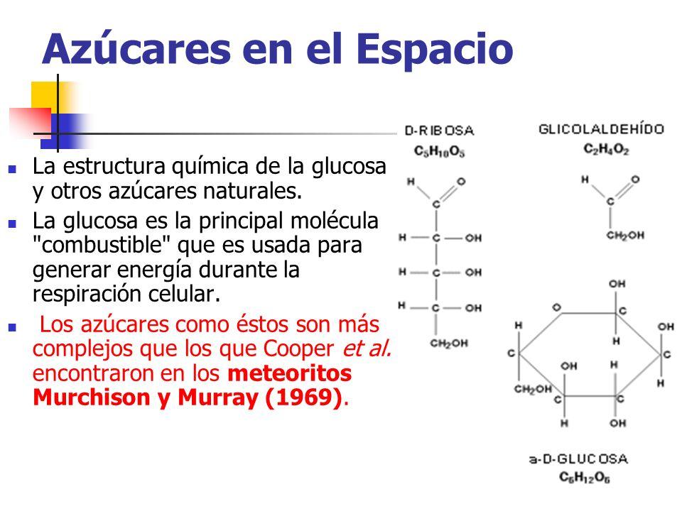 Azúcares en el Espacio La estructura química de la glucosa y otros azúcares naturales. La glucosa es la principal molécula
