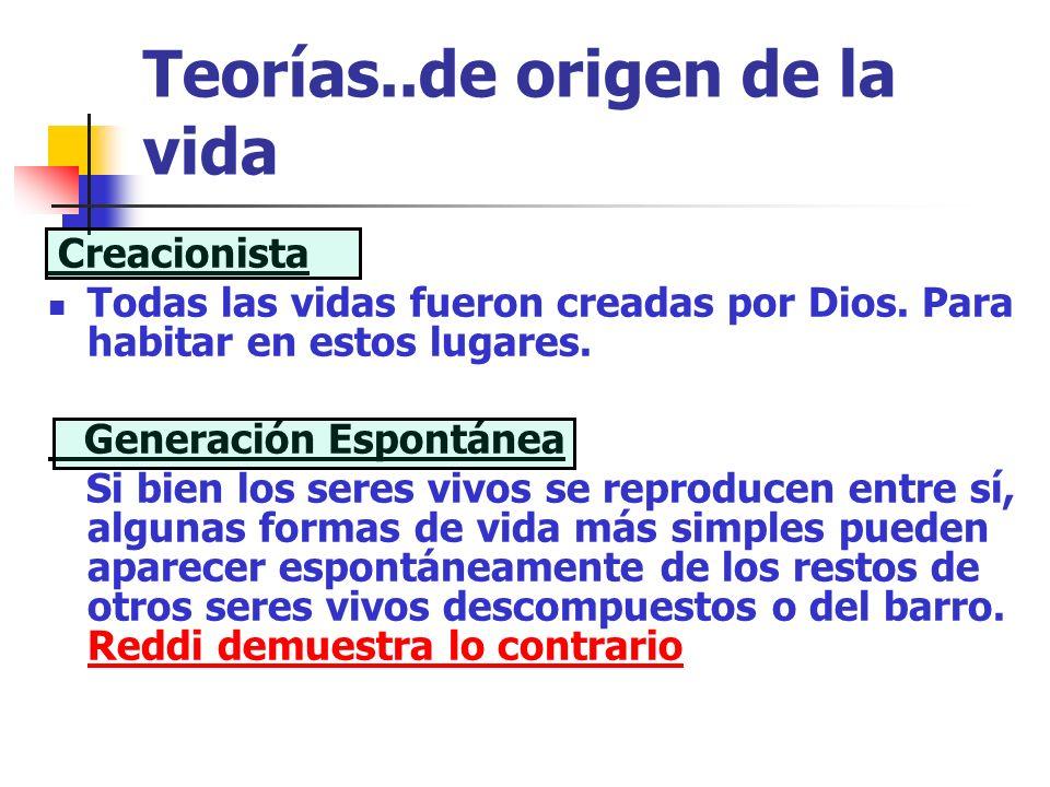Teorías..de origen de la vida Creacionista Todas las vidas fueron creadas por Dios. Para habitar en estos lugares. Generación Espontánea Si bien los s