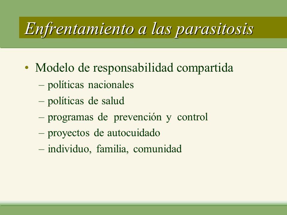 Enfrentamiento a las parasitosis Modelo de responsabilidad compartida –políticas nacionales –políticas de salud –programas de prevención y control –proyectos de autocuidado –individuo, familia, comunidad