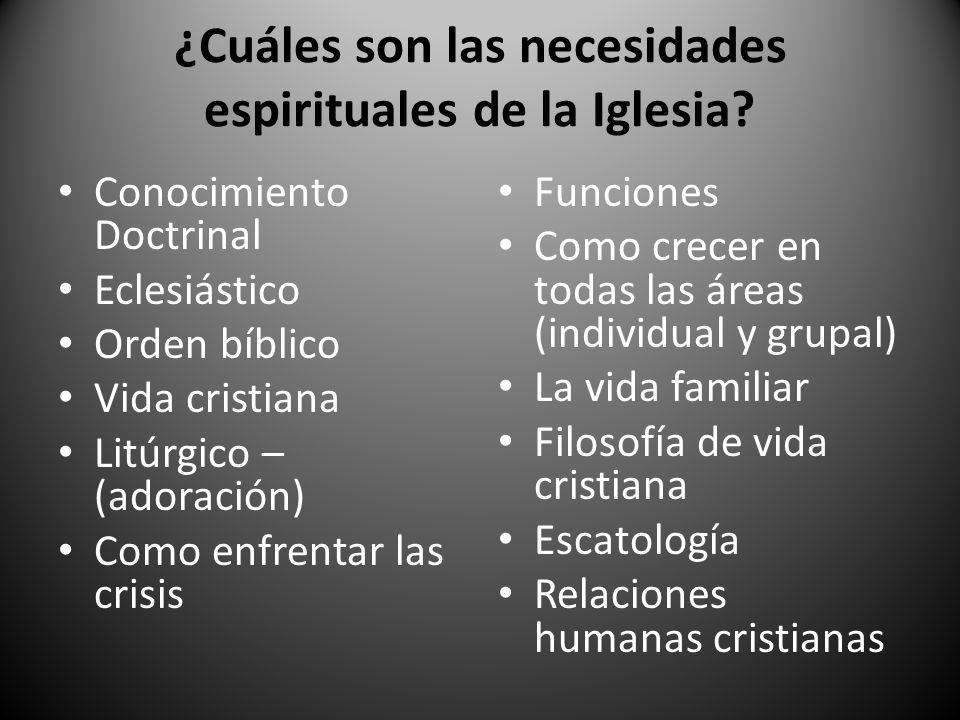 ¿Cuáles son las necesidades espirituales de la Iglesia? Conocimiento Doctrinal Eclesiástico Orden bíblico Vida cristiana Litúrgico – (adoración) Como
