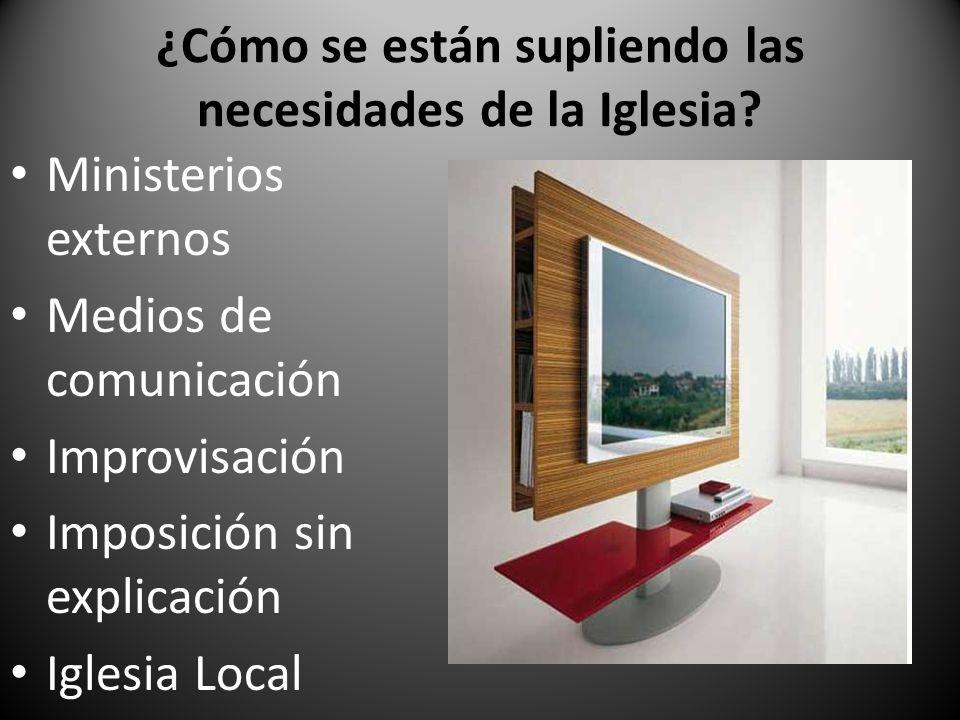 ¿Cómo se están supliendo las necesidades de la Iglesia? Ministerios externos Medios de comunicación Improvisación Imposición sin explicación Iglesia L