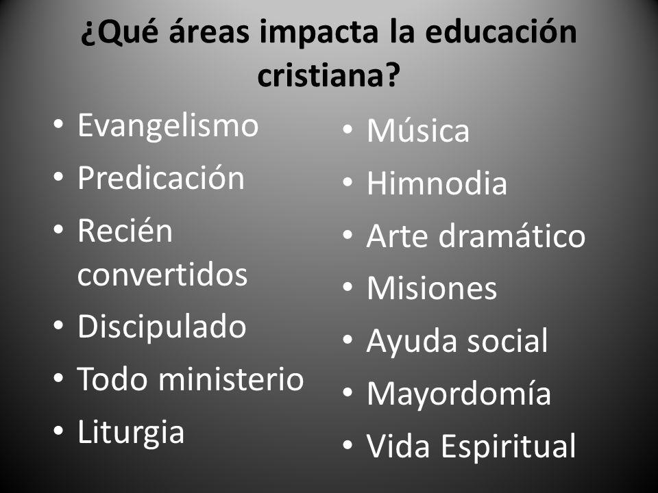 ¿Qué áreas impacta la educación cristiana? Evangelismo Predicación Recién convertidos Discipulado Todo ministerio Liturgia Música Himnodia Arte dramát