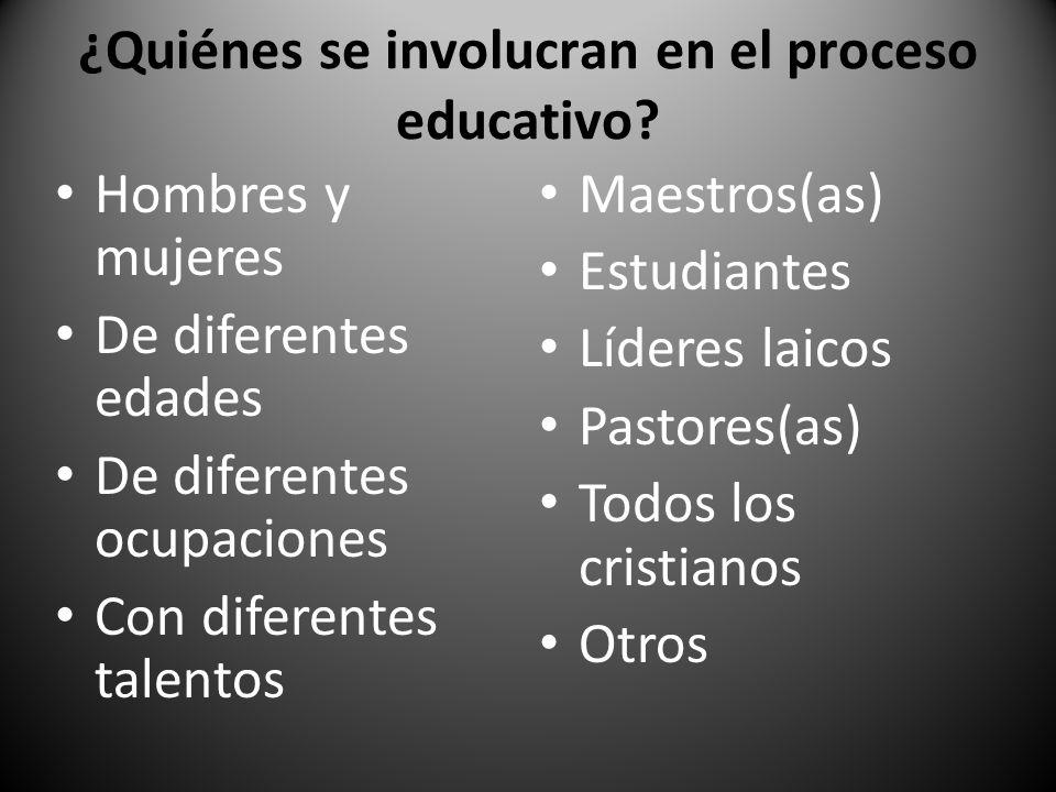 ¿Quiénes se involucran en el proceso educativo? Hombres y mujeres De diferentes edades De diferentes ocupaciones Con diferentes talentos Maestros(as)