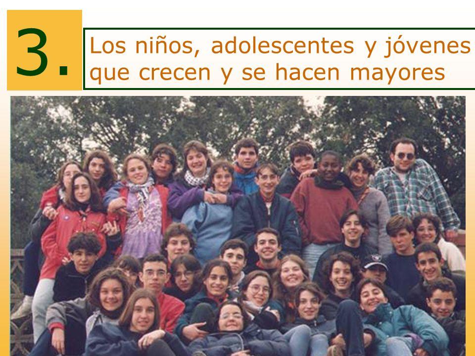 Los niños, adolescentes y jóvenes que crecen y se hacen mayores 3.