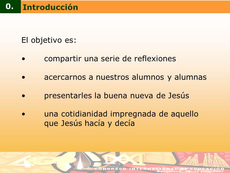 El objetivo es: compartir una serie de reflexiones acercarnos a nuestros alumnos y alumnas presentarles la buena nueva de Jesús una cotidianidad impre