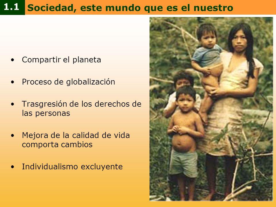 Compartir el planeta Proceso de globalización Trasgresión de los derechos de las personas Mejora de la calidad de vida comporta cambios Individualismo