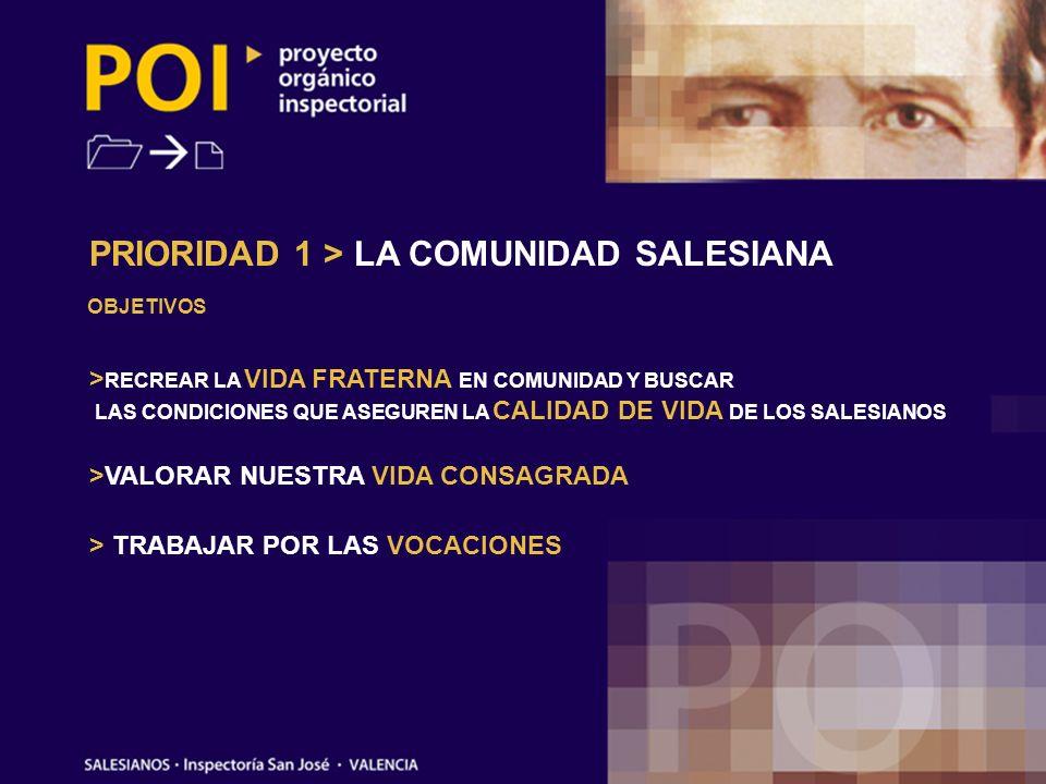 PRIORIDAD 1 > LA COMUNIDAD SALESIANA OBJETIVOS > RECREAR LA VIDA FRATERNA EN COMUNIDAD Y BUSCAR LAS CONDICIONES QUE ASEGUREN LA CALIDAD DE VIDA DE LOS