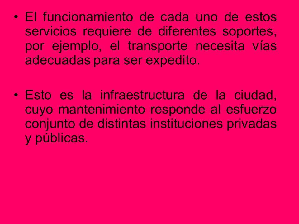 El funcionamiento de cada uno de estos servicios requiere de diferentes soportes, por ejemplo, el transporte necesita vías adecuadas para ser expedito