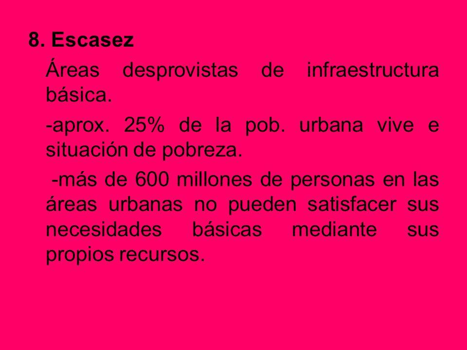 8. Escasez Áreas desprovistas de infraestructura básica. -aprox. 25% de la pob. urbana vive e situación de pobreza. -más de 600 millones de personas e