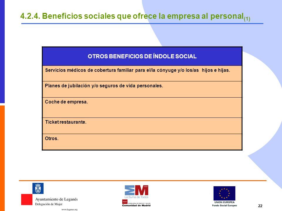 22 OTROS BENEFICIOS DE ÍNDOLE SOCIAL Servicios médicos de cobertura familiar para el/la cónyuge y/o los/as hijos e hijas. Planes de jubilación y/o seg