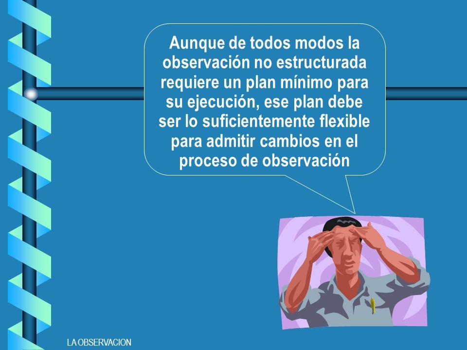 LA OBSERVACION Aunque de todos modos la observación no estructurada requiere un plan mínimo para su ejecución, ese plan debe ser lo suficientemente flexible para admitir cambios en el proceso de observación