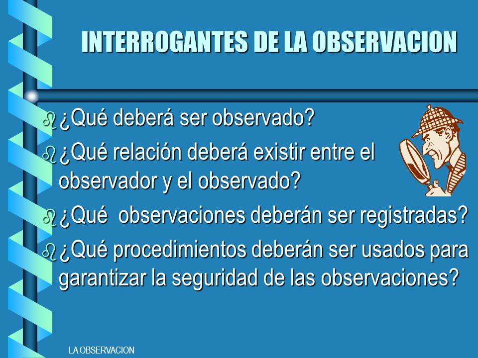 LA OBSERVACION INTERROGANTES DE LA OBSERVACION b ¿Qué deberá ser observado.